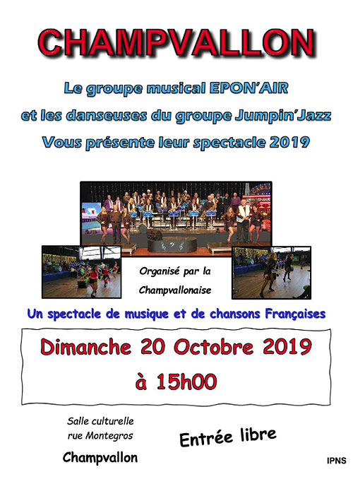Concert-spectacle avec LE GROUPE MUSICAL EPON'AIR et les danseuses du Groupe Jump'in Jazz (nouveau spectacle 2019 / Varieté française des années 80)