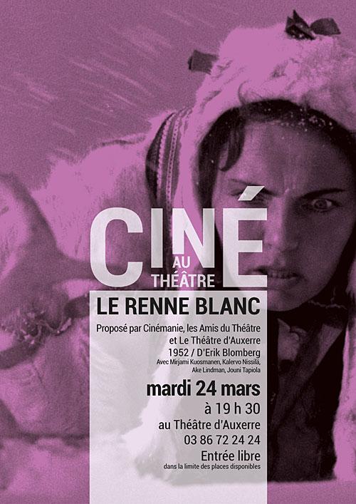 CINE AU THEATRE : LE RENNE BLANC / film d'Erik Blomberg, 1952