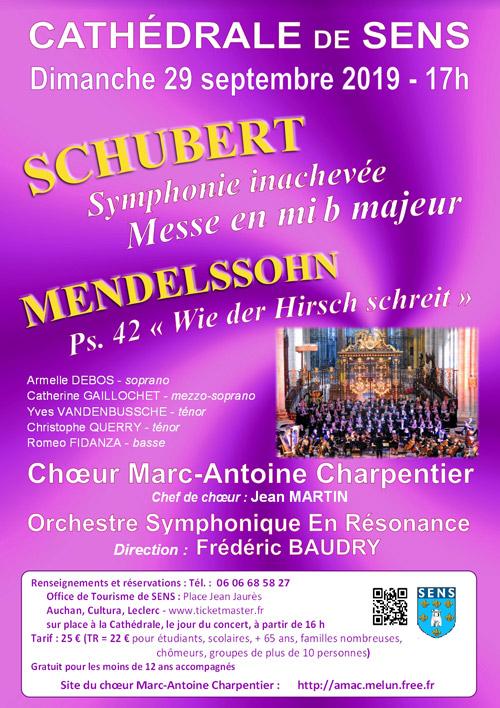 CONCERT avec le CHOEUR MARC-ANTOINE CHARPENTIER et l'Orchestre Symphonique En Résonance (direction Frédéric Baudry) : SCHUBERT (Symphonie inachevée et Messe en mi b majeur) et MENDELSSOHN (Ps. 42