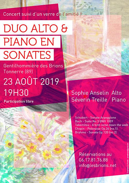 CONCERT : DUO ALTO ET PIANO EN SONATES avec Sophie Anselin (alto) et Séverin Treille (piano) / Oeuvres de Schubert, Bach, Takemisu, Chopin et Brahms /suivi d'un verre de l'amitié