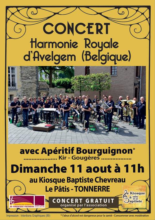 CONCERT avec L'HARMONIE ROYALE D'AVELGEM (BELGIQUE) avec Apéritif Bourguignon (kir-gougères)