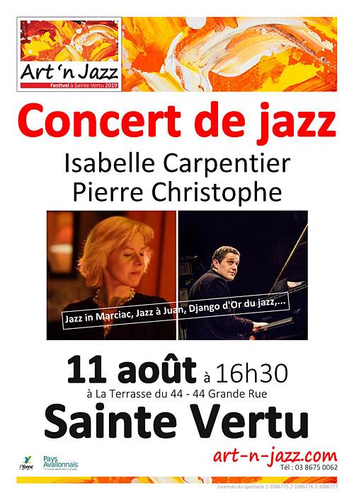 CONCERT JAZZ avec Isabelle CARPENTIER et Pierre CHRISTOPHE dans le cadre du Festival Art'n'Jazz