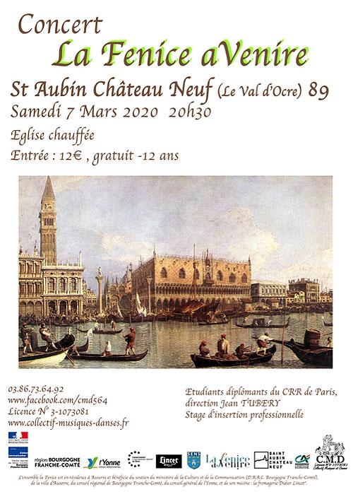 Concert de l'Ensemble La Fenice aVenire avec 10 instrumentistes sous la direction de Jean Tubéry avec les étudiants du CRR de Paris