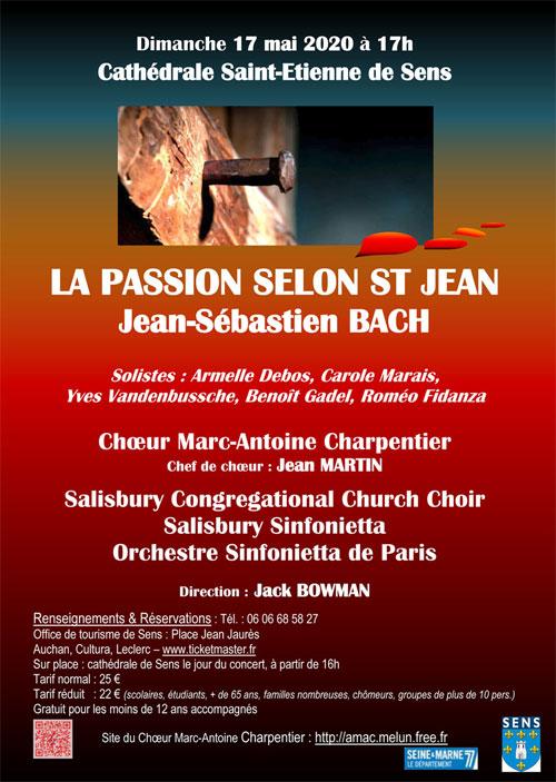 CONCERT : LA PASSION SELON SAINT JEAN de Jean-Sébastien BACH par le Choeur Marc-Antoine Charpentier + Salisbury Congregational Church Choir + Salisbury Sinfonietta + Orchestre Sinfonietta de Paris