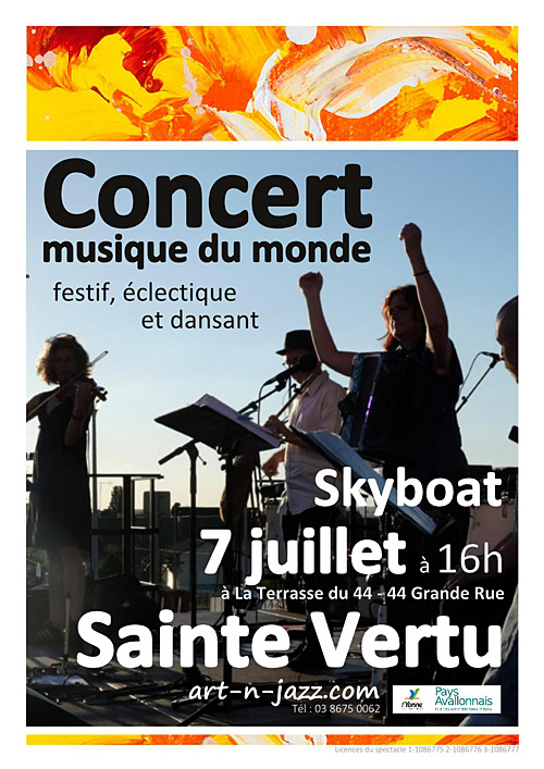CONCERT avec SKYBOAT (musique du monde, festif, éclectique et dansant) dans le cadre du Festival Art'n'Jazz