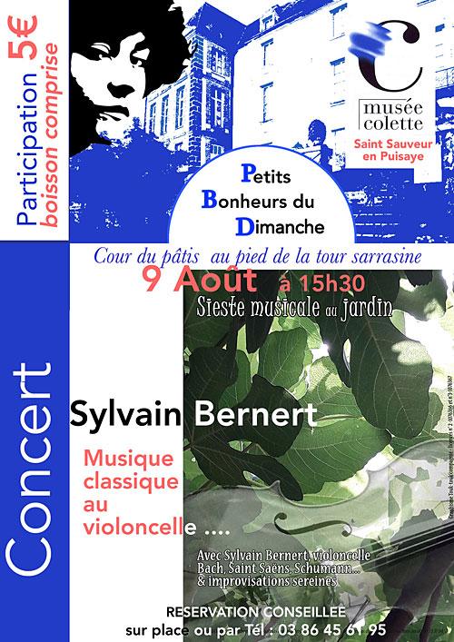 CONCERT / Sieste musicale au jardin avec Sylvain BERNERT (Musique classique au violoncelle / Bach, Saint-Saëns, Schumann... & improvisations sereines) dans le cadre des