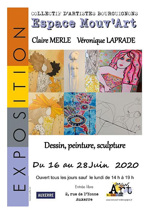 EXPOSITION (Dessin, peinture, sculpture) du 16 au 28 juin par Claire MERLE et Véronique LAPRADE