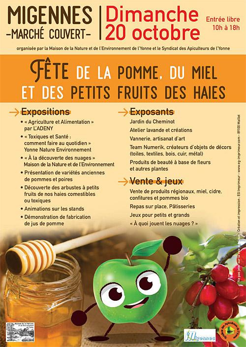 FETE DE LA POMME, DU MIEL ET DES PETITS FRUITS DES HAIES : présentation des fruits, expositions, artisanat local, restauration et dégustation