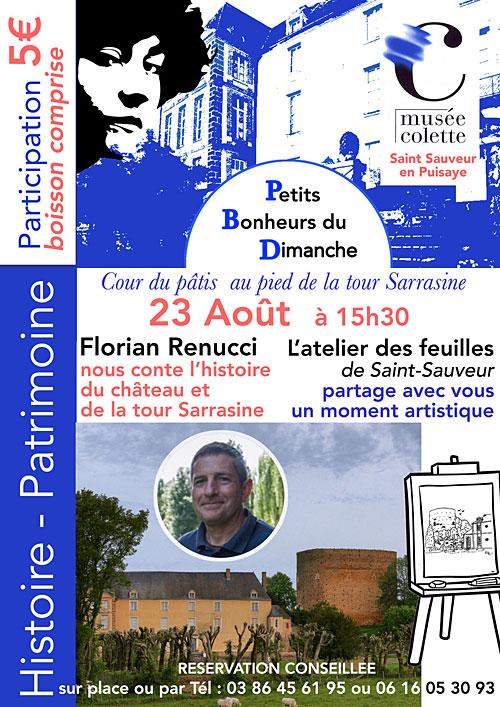 HISTOIRE - PATRIMOINE : Florian Renucci nous conte l'histoire du château et de la tour Sarrasine + L'atelier des feuilles de Saint-Sauveur dans le cadre des
