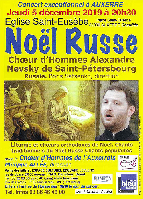 NOEL RUSSE : Concert du Chœur d'Hommes Russe Alexandre Nevsky de Saint Petersbourg (direction Boris Satsenko) avec le Chœur d'Hommes de l'Auxerrois (direction Philippe Allée)