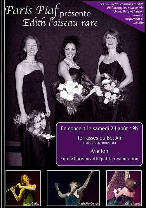 « Edith L'oiseau rare » Les plus belles chansons d'Edith Piaf / Nathalie Cohen, chant / Lena Gutke, flûte / Odile Abrell, harpe