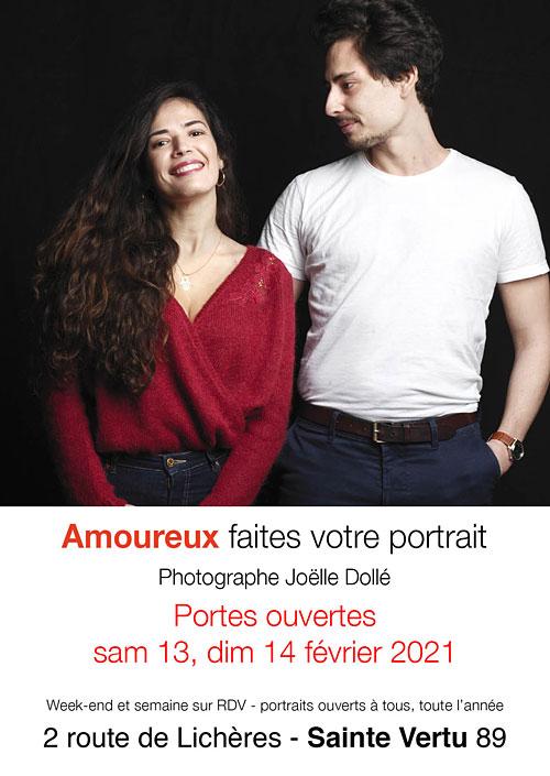 Amoureux faites votre portrait par la photographe Joëlle Dollé dans le cadre de portes ouvertes