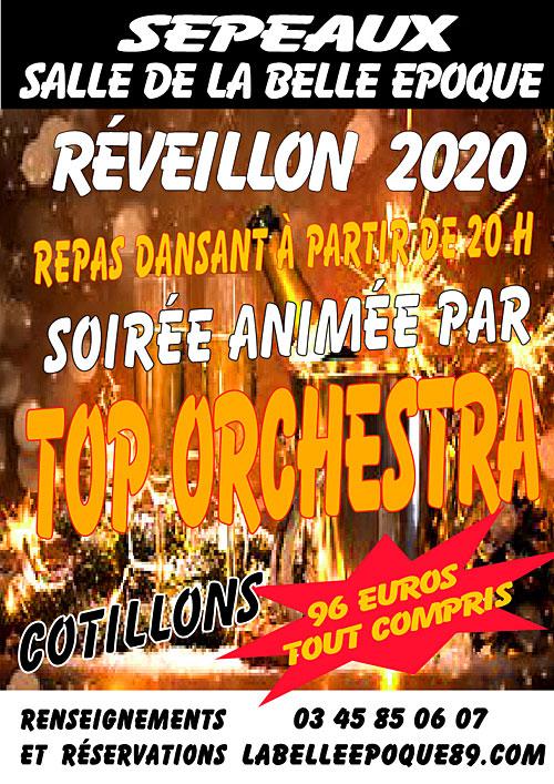 REVEILLON 2020 : REPAS DANSANT, cotillons et soirée animée par TOP ORCHESTRA (accordéon / variété / musette)