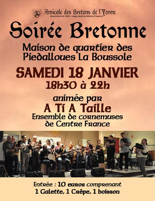 SOIREE BRETONNE animée par l'ensemble de Cornemuses Centre France A TI A TAILLE