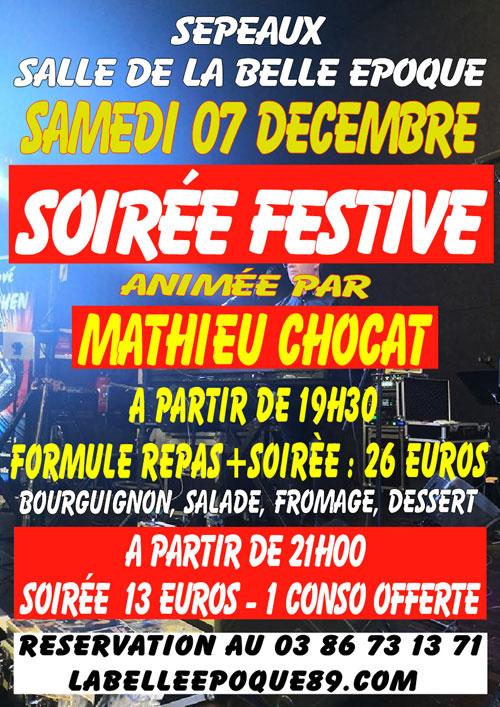 SOIREE FESTIVE avec MATHIEU CHOCAT (repas-dansant)