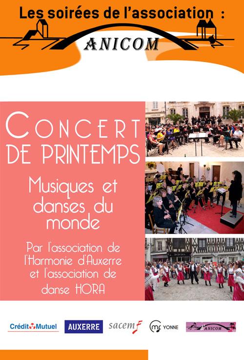 CONCERT DE PRINTEMPS : Musiques et danses du monde / Par l'Harmonie d'Auxerre et l'association de danse Hora / Organisée par l'association ANICOM