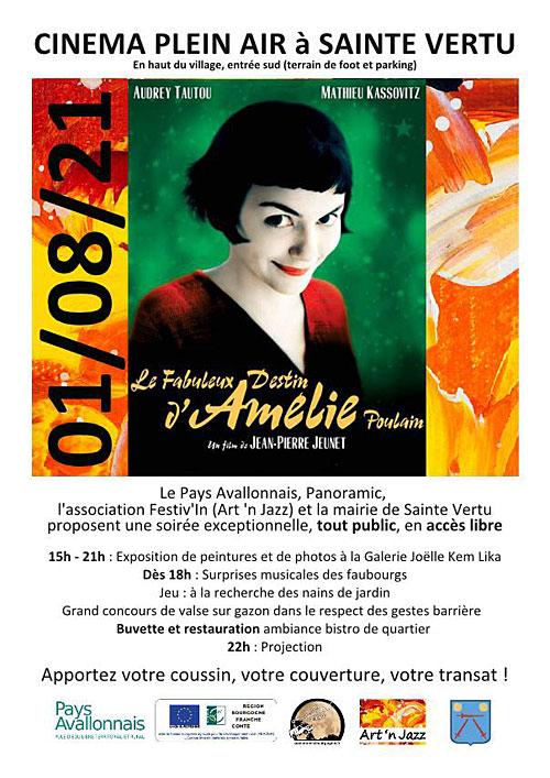 Cinema plein air Le Fabuleux Destin d Amelie Poulain Sainte Vertu 01 08 2021.jpg