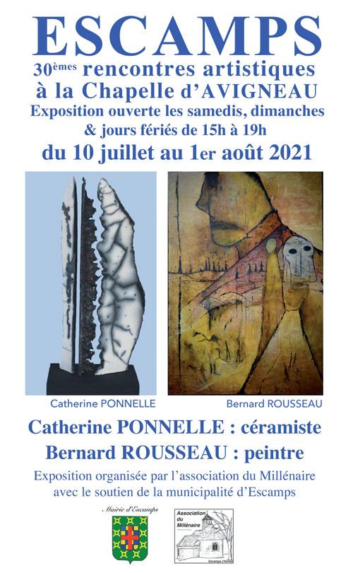 Rencontres Artistiques Escamps Expositions Catherine Ponnelle Bernard Rousseau Chapelle Avigneau 2021.jpg