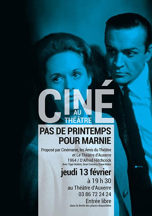 CINE AU THEATRE : PAS DE PRINTEMPS POUR MARNIE / film d'Alfred Hitchcock, 1964