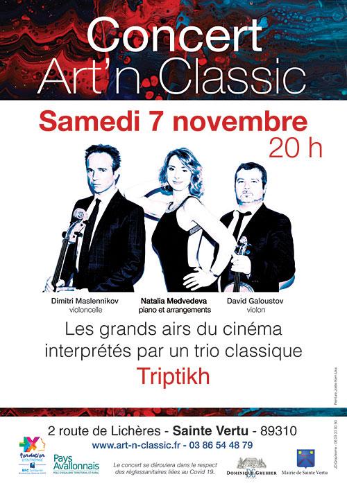 CONCERT ART'N CLASSIC : LES GRANDS AIRS DU CINEMA joué par le trio classique Triptikh (piano, violon, violoncelle)
