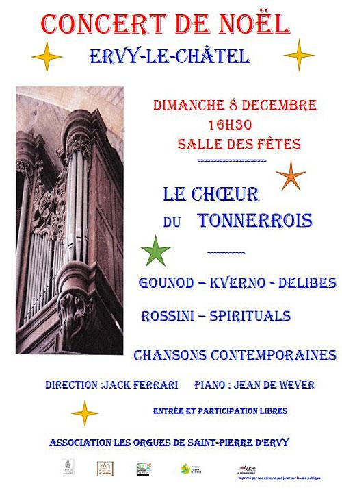 CONCERT DE NOEL par le CHOEUR DU TONNERROIS (Gounod, Kverno, Delibes, Rossini, spirituals, chansons contemporaines / Direction Jack Ferrari / piano : Jean de Wever)