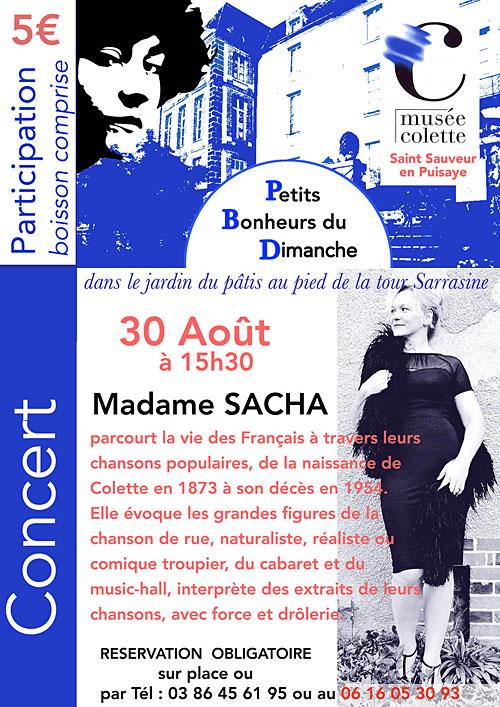 Concert avec Madame Sacha (chanson française) dans le cadre des