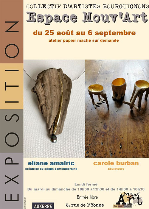 EXPOSITION de Carole BURBAN et Eliane AMALRIC (objets décoratifs, mobilier en papier massif et bijoux contemporains)