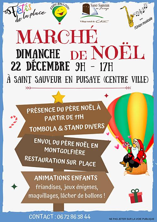 MARCHÉ DE NOËL : stands et nombreuses animations avec présence du PERE NOEL et son envol en Montgolfière, tombola...