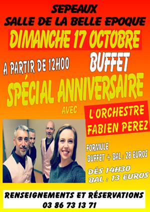 Spécial anniversaire : Buffet dansant avec l'Orchestre Fabien Perez