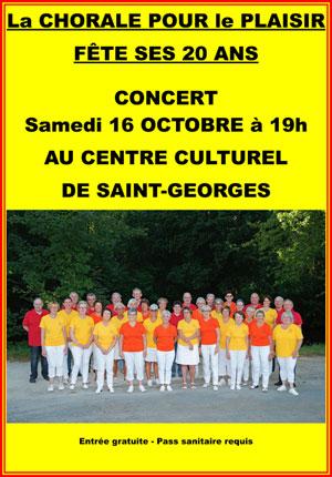 Concert : La chorale des Chanteurs Pour le Plaisir fête ses 20 ans (florilège de chansons françaises)