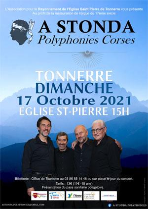 Concert avec A Stonda (Polyphonies Corses) au profit de la restauration de l'orgue de Saint-Pierre