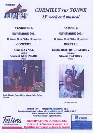 23ème week-end musical de Chemilly sur Yonne : Concert violon-piano avec Alain Raynal (violon) et Vincent Guignard (piano) / Oeuvres de Bach, Chopin, Fauré, Grieg, Mozart, Saint Saëns, Strauss