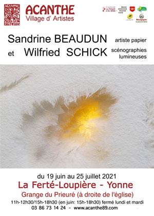 Exposition : Sandrine Beaudun (artiste papier) et Wilfried Schick (scénographie lumineuse)