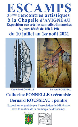 30èmes Rencontres Artistiques à Escamps : expositions de Catherine Ponnelle (céramiste) et Bernard Rousseau (peintre)