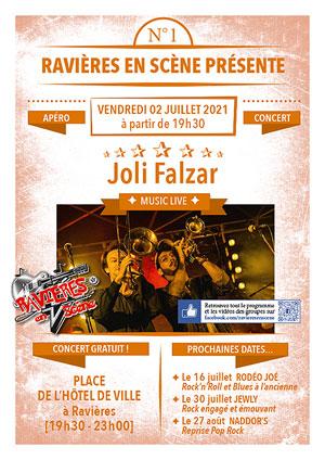 1er apéro-concert avec Joli Falzar (musique festive) dans le cadre de Ravières en Scène (saison 6)