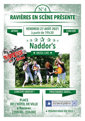 ATTENTION concert annulé : Apéro-concert avec Naddor's (Reprises Pop Rock) dans le cadre de Ravières en Scène (saison 6)