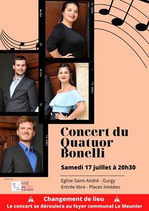 Concert avec le Quatuor Bonelli (musique classique / ensemble vocal mixte)