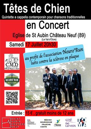 Concert caritatif avec les Têtes de Chien (quintette a cappella contemporain pour chansons traditionnelles) au profit de l'association Neuro'Run (lutte contre la sclérose en plaques)