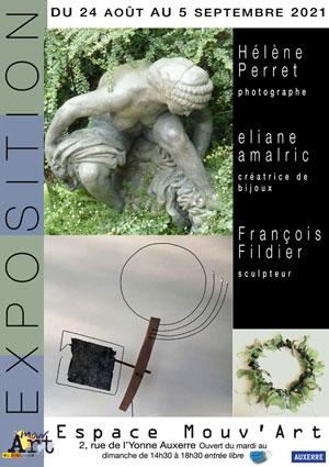 Exposition : Hélène Perret (photographe), Eliane Amalric (créatrice de bijoux) et François Fildier (sculpteur)