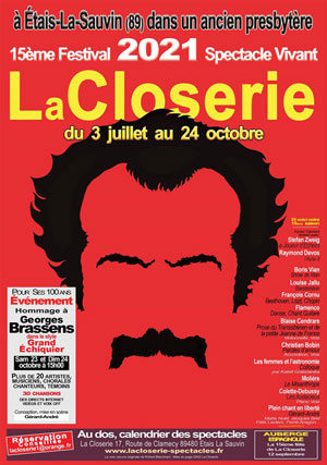 Présentation du programme des spectacles 2021 de La Closerie : tous les artistes en direct ou en visio-conférence sur écran