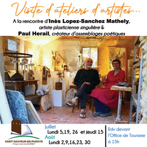Visite d'ateliers d'artistes : à la rencontre d'Inès Lopez-Sanchez Mathely (artiste plasticienne singulière) et Paul Herail (créateur d'assemblages poétiques)