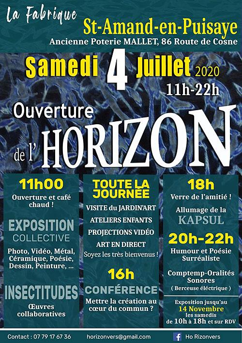 L'Horizon s'ouvre : Exposition Collective (Peinture, Vidéo, Photo, Acier, Poésie, Céramique, Dessins...)