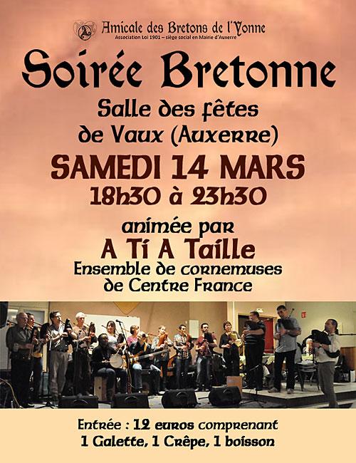 SOIREE BRETONNE animée par A TI A TAILLE (Ensemble de cornemuses de Centre France)