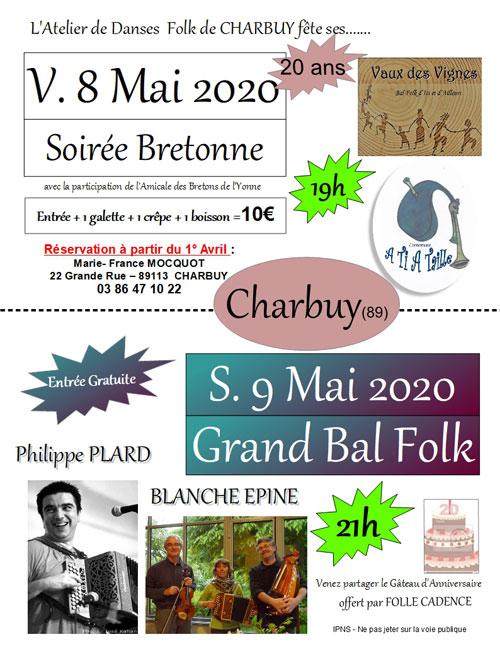 GRAND BAL FOLK pour les 20 ANS DE L'ATELIER FOLK DE CHARBUY avec Philippe Plard et Blanche Epine