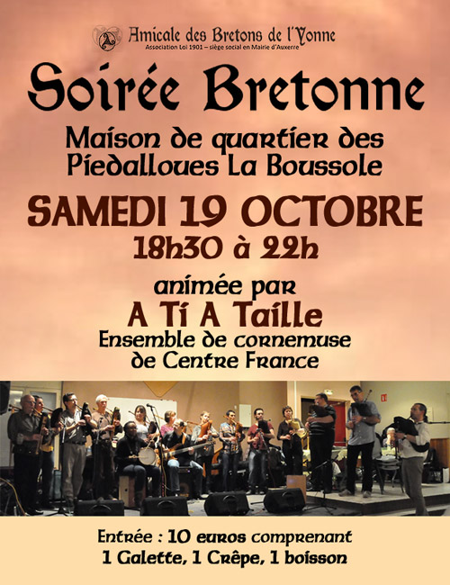 SOIREE BRETONNE de l'Amicale des Bretons de l'Yonne animée par A TI A TAILLE (Ensemble de Cornemuses de Centre France)