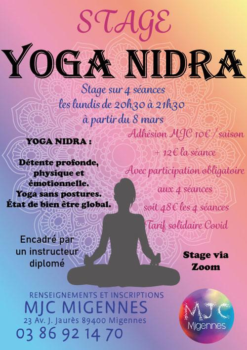 Stage de Yoga Nidra en direct sur internet sur 4 séances